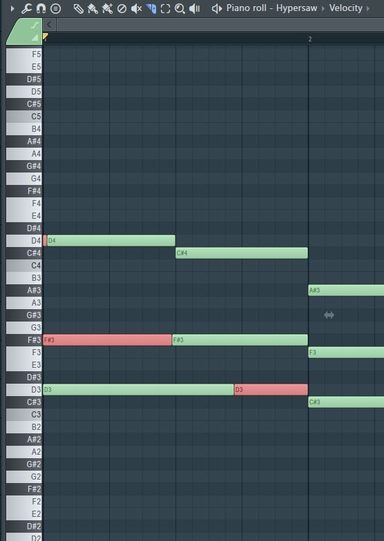 Notes that have been cut with slice tool fl studio