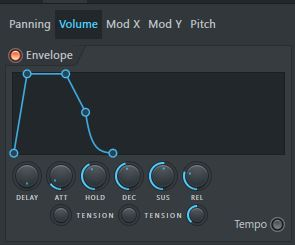 showing envelope FL Studio sampler